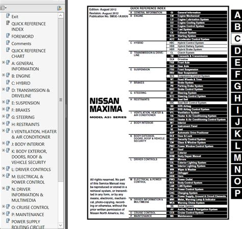 service manual car repair manuals online pdf 2011 nissan maxima free book repair manuals