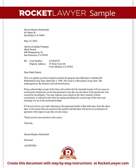 Loan Opinion Letter Mortgage Trust Letter Transfer Of Property Rocket Lawyer