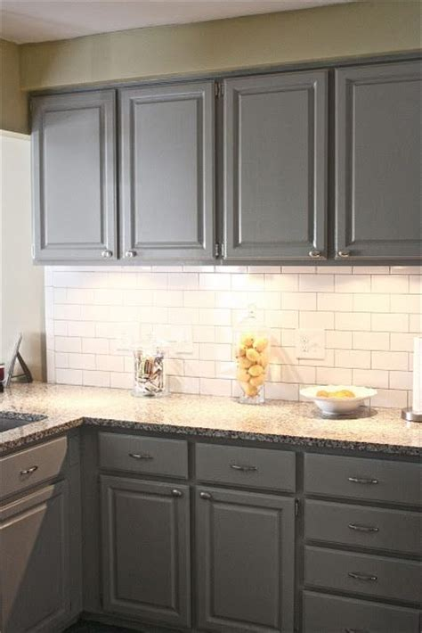 gray cabinets in bedford gray by martha stewart and white subway tile with gray grout