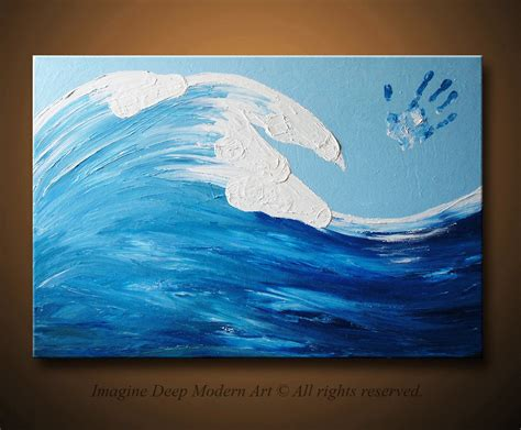 blue and white painting ocean wave painting blue light sky white horses large 36x24
