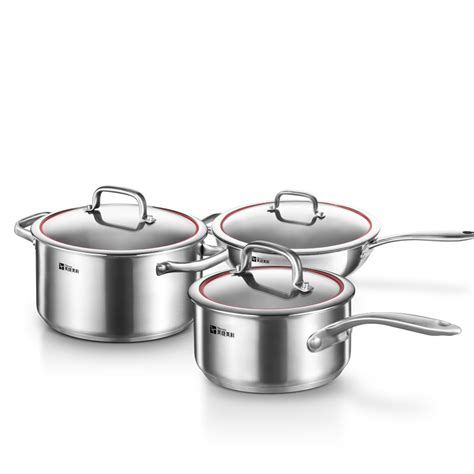 kitchen pots millenarie cookware warm series sus304 stainless steel kitchen cooking pots and pans 3pc