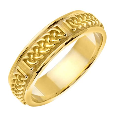 14k yellow gold handmade celtic wedding band sarraf