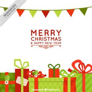 merry garland template merry with gifts and garlands vector free