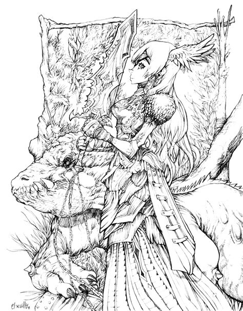 detailed fantasy coloring pages selfcoloringpages com