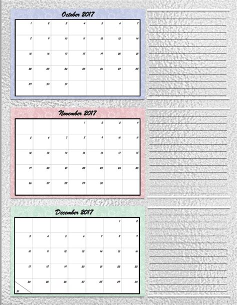 Free Printable 2017 Quarterly Calendars 2 Different Designs Quarterly Planner Template