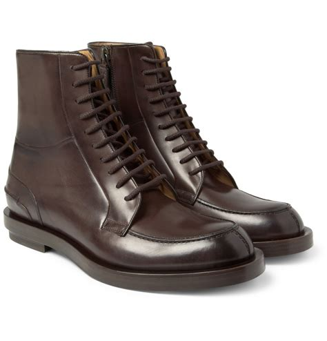 gucci burnished laceup leather boots in brown for lyst