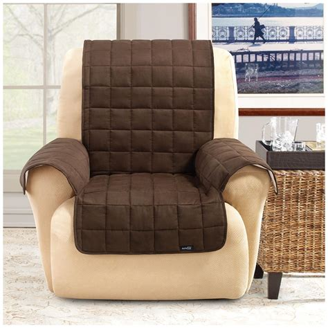 Recliner Protectors by Sure Fit 174 Waterproof Quilted Suede Wing Chair Recliner