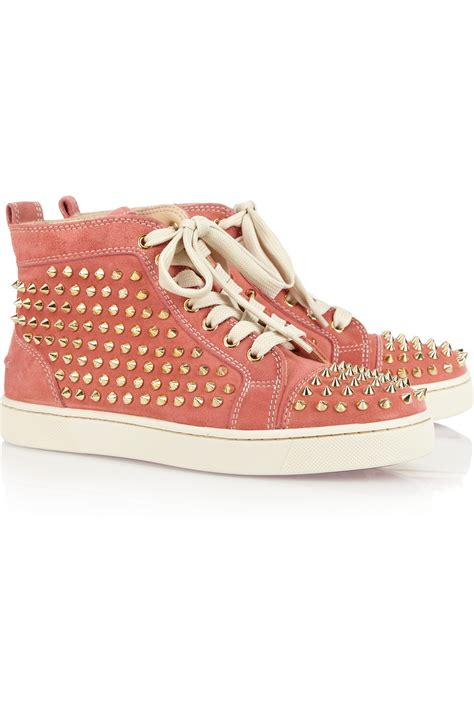 christian louboutin louis studded suede sneakers in pink lyst