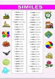 similes worksheets worksheet amp workbook site