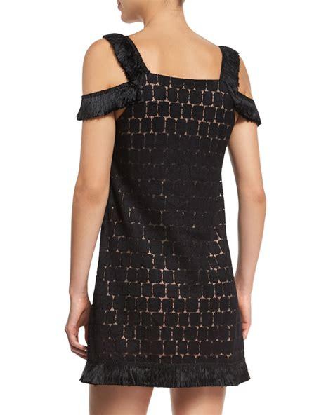 Alarifnie Square Cold Shoulder Mini Dress geometric cold shoulder mini dress in black lyst