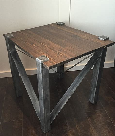 industrial end table rustic industrial end table