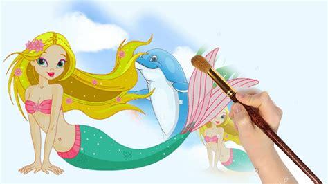 Gambar Mermaid mewarnai putri duyung dan lumba lumba mermaid coloring