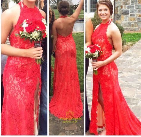 754 Dress Open Sude Halterneck halter neck backless lace prom dress with side cutouts val dresses