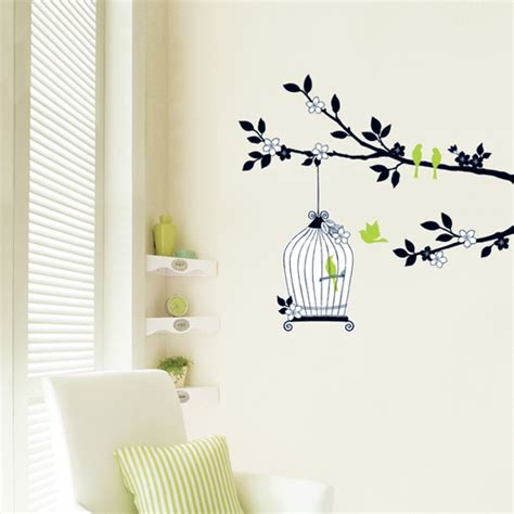 birdcage wall sticker tree and birdcage wall stickers wallstickery