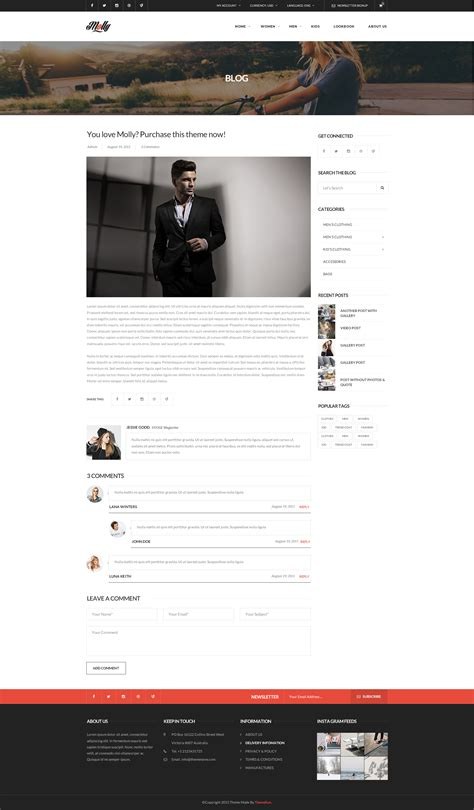 Molly Elegant Clean Psd Template By Themesun Themeforest Single Post Template Elementor