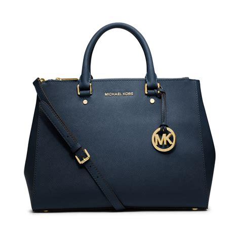 Mk Suitton michael kors michael sutton large satchel in blue navy