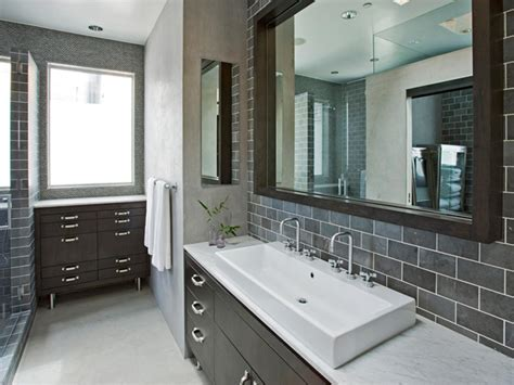 modern gray bathrooms choosing a bathroom backsplash hgtv
