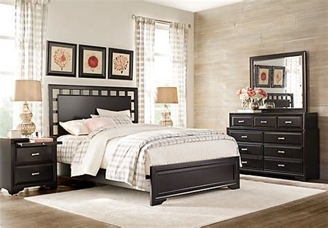 belcourt black  pc queen lattice bedroom panel