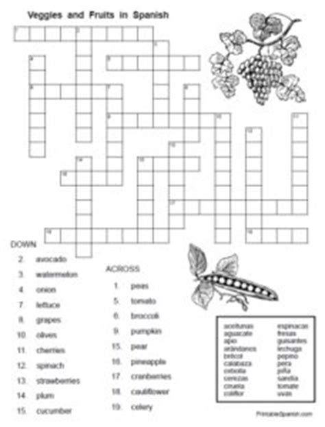 printable crossword puzzles vegetables veggies fruits in spanish printable spanish