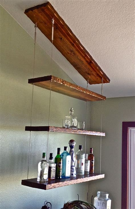 Vintage Floating Rack Sweet Home distressed hardwood and stainless cable suspended liquor
