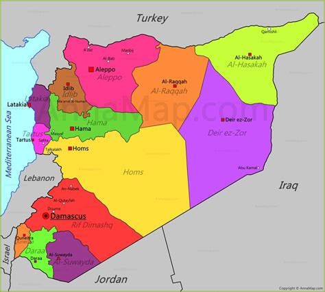 syria on map syria map map of syria annamap