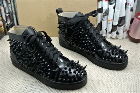black spikes fashion high top sport shoes patent