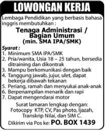 lowongan kerja administrasibagian umum pekanbaru