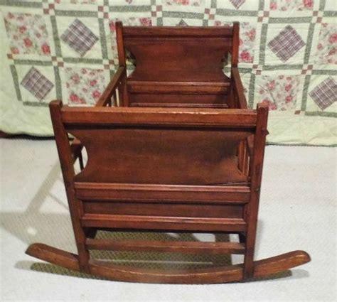 antique full size baby cradle wooden rocker rocking crib