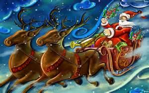 Santa claus sleigh 1 cool wallpaper hivewallpaper com