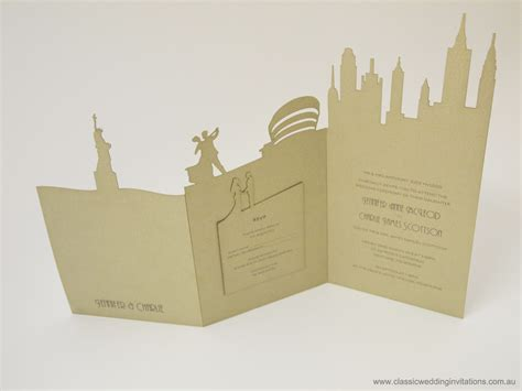 classic wedding invitations new york landscape - New Wedding Invitations