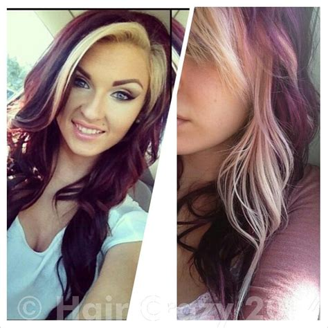 blonde and burgundy hairstyles dark burgundy with blonde highlights hair color long