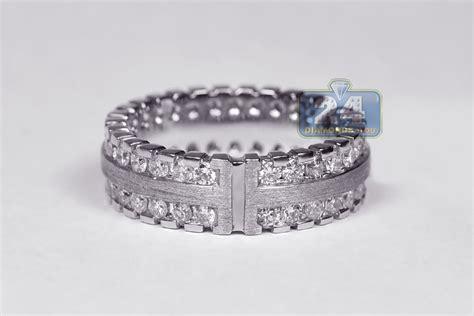 matte 14k white gold 3 01 ct mens eternity ring