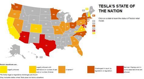 Tesla Sales By State Tesla Motors State By State Dealer Battle Interactive