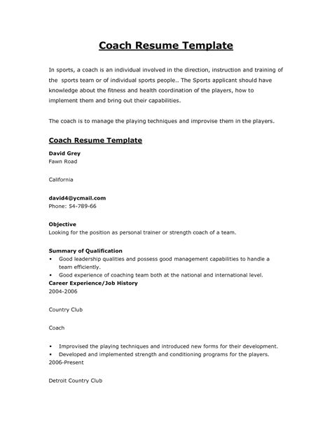 coach resume template athletic coach resume best letter sle