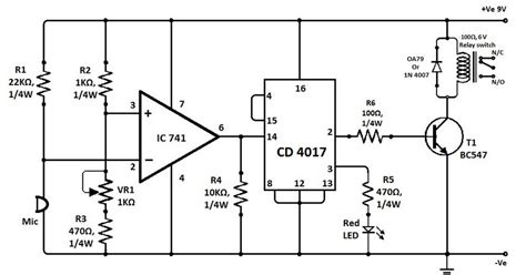variable resistor vr1 clap switch with ic741 and cd4017 electronic knowledge