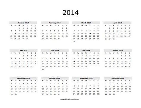2014 12 month printable calendar auto design tech