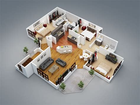3 bedroom house plans 3d design 3 artdreamshome 3 bedroom house plans 3d design artdreamshome