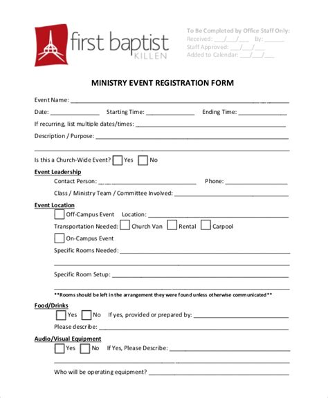 12 Sle Event Registration Forms Sle Forms Children S Church Registration Form Template