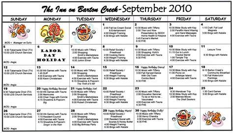 Assisted Living Activity Calendar Template by 2010 Calendar 2017 Printable Calendar