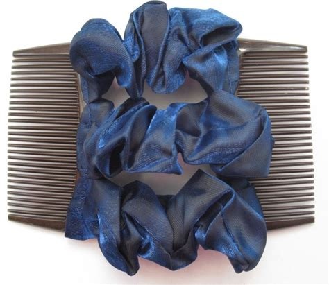updo with elastic combs dark blue satin fabric material double elastic stretch