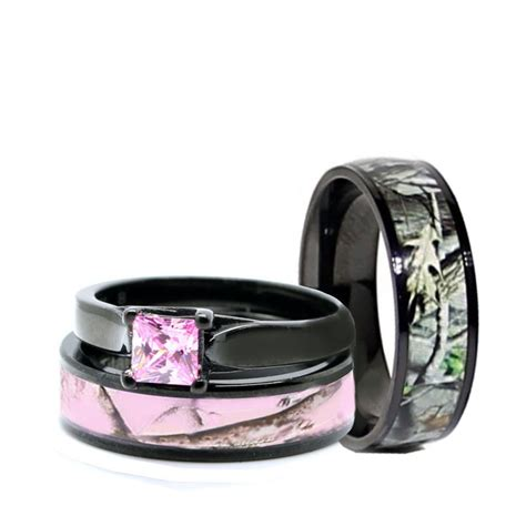 HIS Black Camo Band, HER Pink Titanium Engagement Wedding
