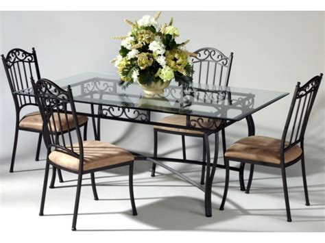 glass dining vintage wrought iron glass top table and chairs chairs