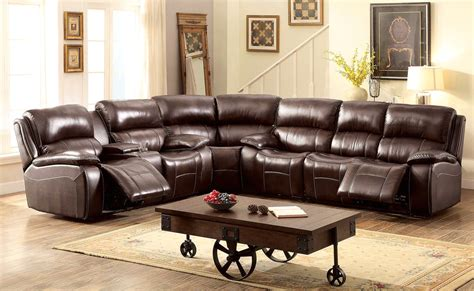 Top Grain Leather Sectional Sofa Seth Transitional Brown Reclining Sectional Sofa In Top Grain Leather