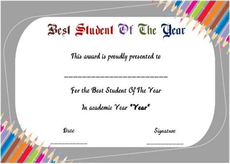 student of the year award certificate templates best student of the year award certificate student of