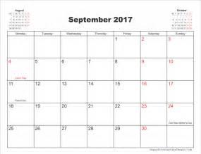 Calendar Template September 2017 Editable September 2017 Calendar With Holidays 187 Calendar Template 2017