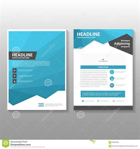 leaflet design layout abstract blue low polygon leaflet brochure flyer template