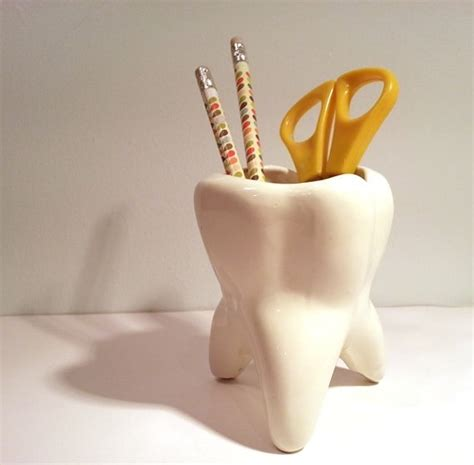 Tooth Shaped Planter by Ceramic Tooth Pencil Holder Dental Hygiene Pinterest