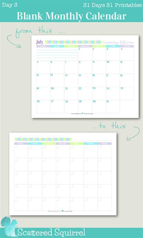 Calendar 31 Days 31 Day Calendar Grid Printable Calendar Template 2016