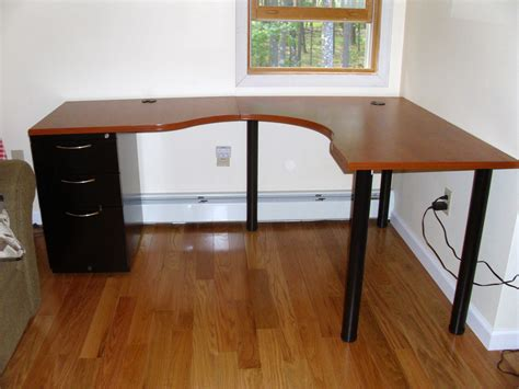 l shaped desk ikea wooden top l shaped ikea desk with file cabinet on one