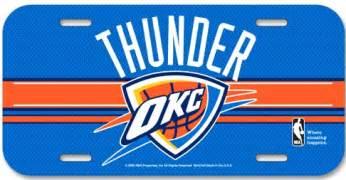 okc thunder colors oklahoma city thunder nba basketball team logo license plate